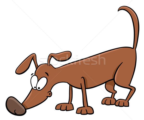 Stock photo: sniffing dog cartoon
