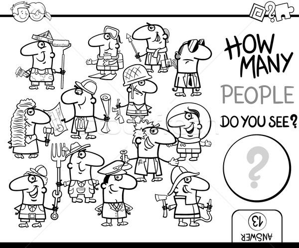 Ludzi kolorowanka czarno białe cartoon ilustracja Zdjęcia stock © izakowski