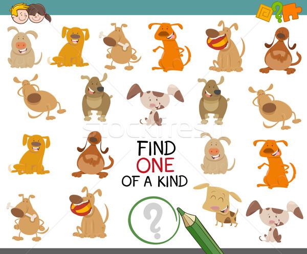 Vinden een hond karakter cartoon illustratie Stockfoto © izakowski