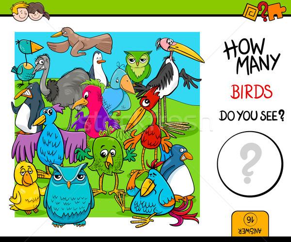 counting birds educational activity game Stock photo © izakowski