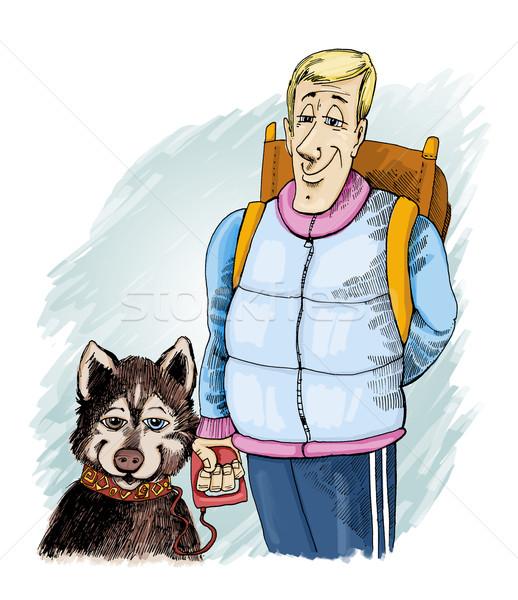 Husky kutya tulajdonos humoros illusztráció utazás Stock fotó © izakowski