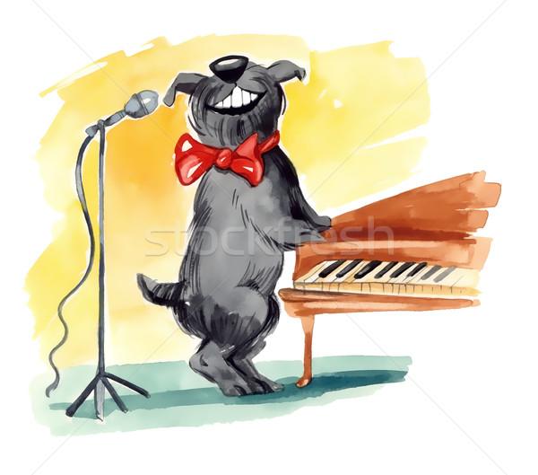 Stock photo: shaggy dog singing
