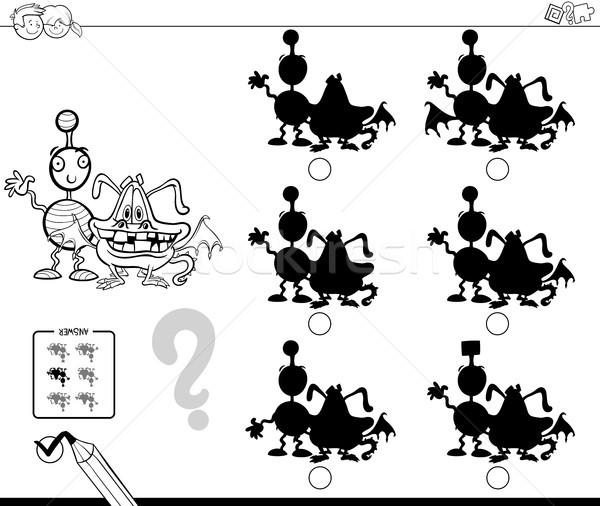Monster Schatten Spiel Farbe Buch schwarz weiß Stock foto © izakowski
