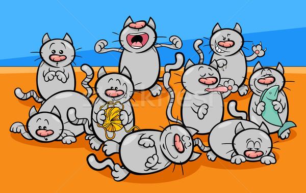 смешные кошек Cartoon иллюстрация котят Сток-фото © izakowski