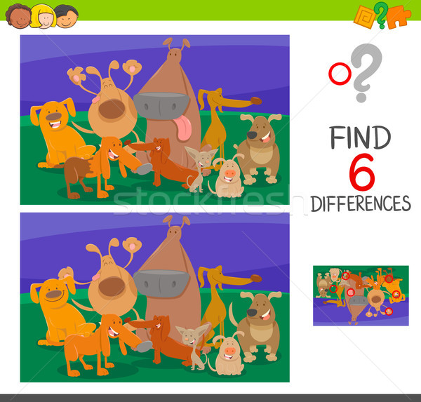 find the differences with dogs cartoon characters Stock photo © izakowski