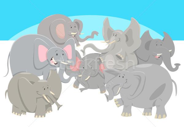 Imagine de stoc: Desen · animat · elefantii · animal · grup · ilustrare