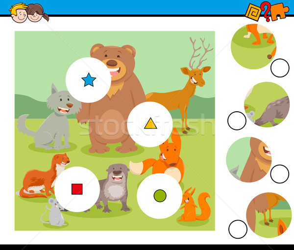 Gyufa darabok puzzle vicces vadállatok rajz Stock fotó © izakowski
