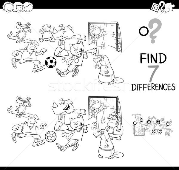 Diferenças jogo futebol animais cor livro Foto stock © izakowski
