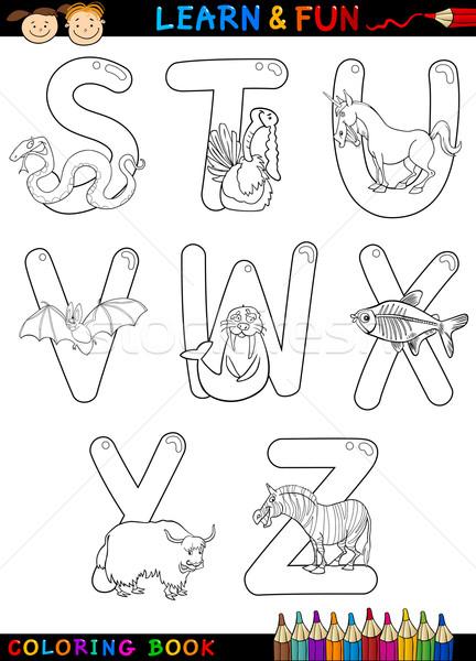 Cartoon алфавит животные книжка-раскраска страница набор Сток-фото © izakowski