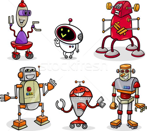 Stockfoto: Robots · cartoon · illustratie · ingesteld · grappig · fantasie