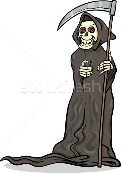 Morte esqueleto desenho animado ilustração assustador halloween Foto stock © izakowski