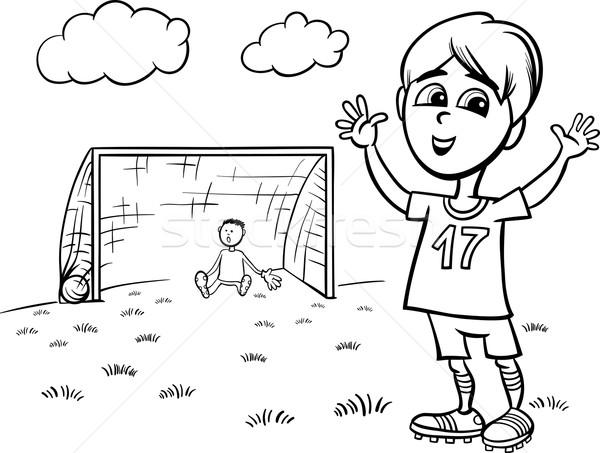 Junge Spielen Fussball Seite Schwarz Weiss