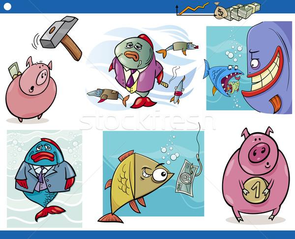 ストックフォト: ビジネス · 漫画 · セット · 実例