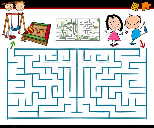 Cartoon labyrinthe labyrinthe jeu illustration éducation Photo stock © izakowski