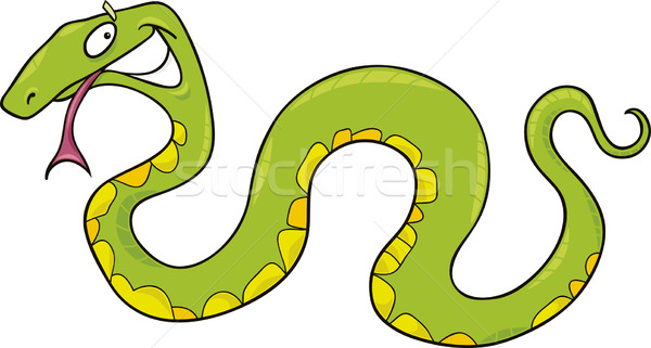 Vert serpent cartoon drôle heureux nature Photo stock © izakowski
