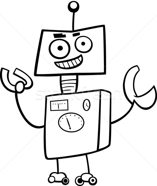 robot cartoon character coloring book Stock photo © izakowski
