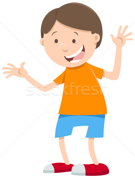 happy boy cartoon character vector illustration © Igor