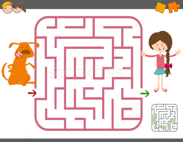 maze game with girl and dog Stock photo © izakowski