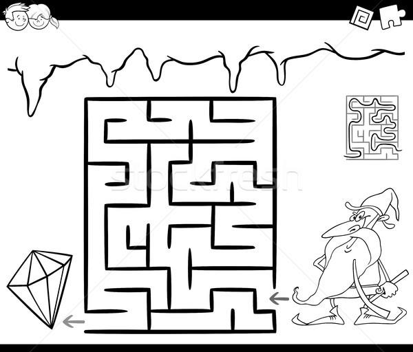 maze with dwarf and gem for coloring Stock photo © izakowski