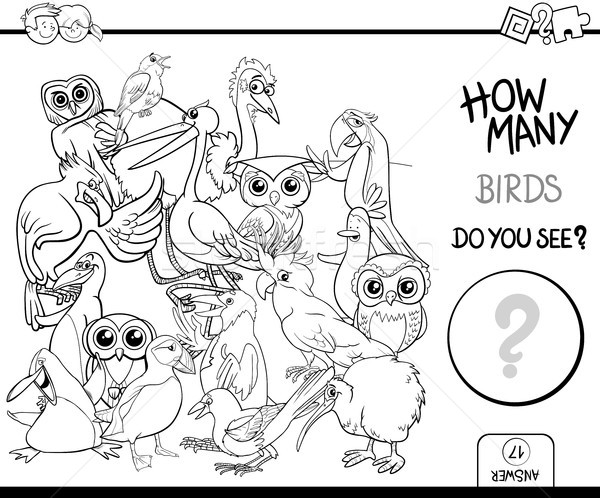 counting birds coloring page activity Stock photo © izakowski