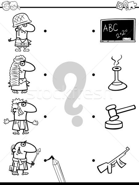 Partido educativo libro para colorear blanco negro Cartoon Foto stock © izakowski