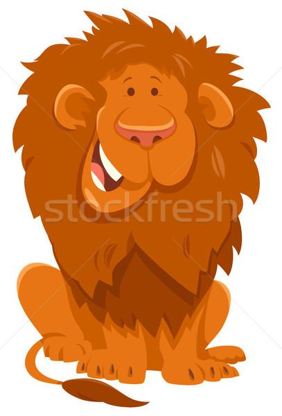 Funny lew cartoon charakter ilustracja Zdjęcia stock © izakowski