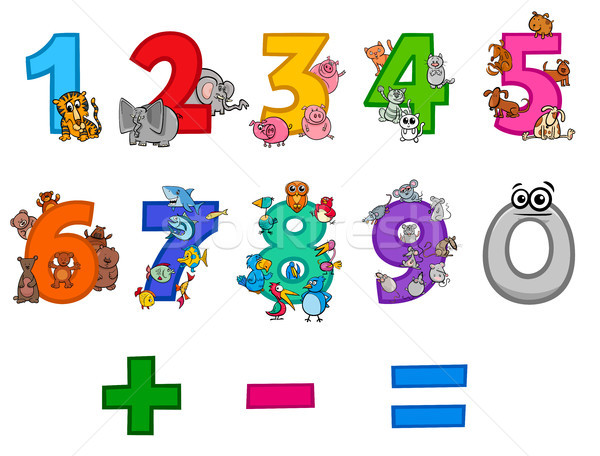 educational numbers set with cartoon animals Stock photo © izakowski