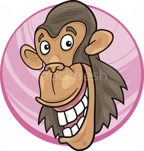 Chimpansee cartoon illustratie grappig aap gelukkig Stockfoto © izakowski