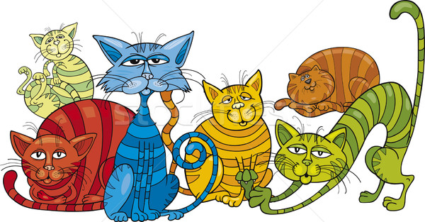 color cats group Stock photo © izakowski