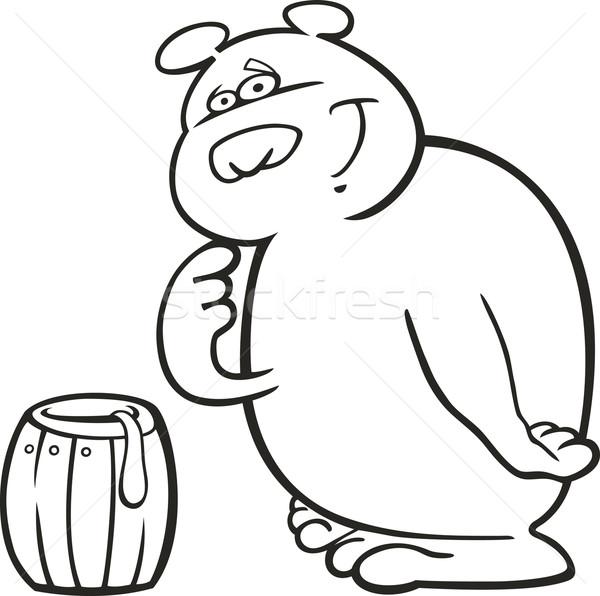 Ayı Bal Boyama Kitabı Karikatür örnek Gıda Vektör