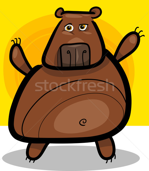 cartoon illustration of grizzly bear Stock photo © izakowski
