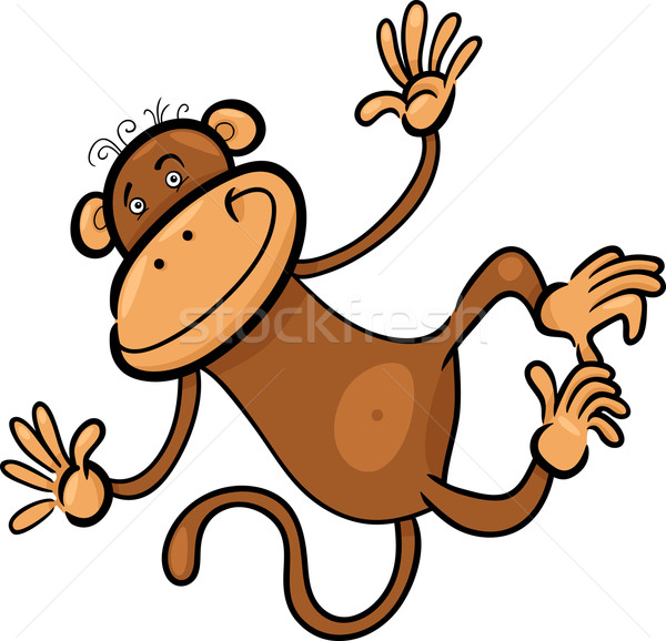 Stock photo: cartoon illustration of funny monkey
