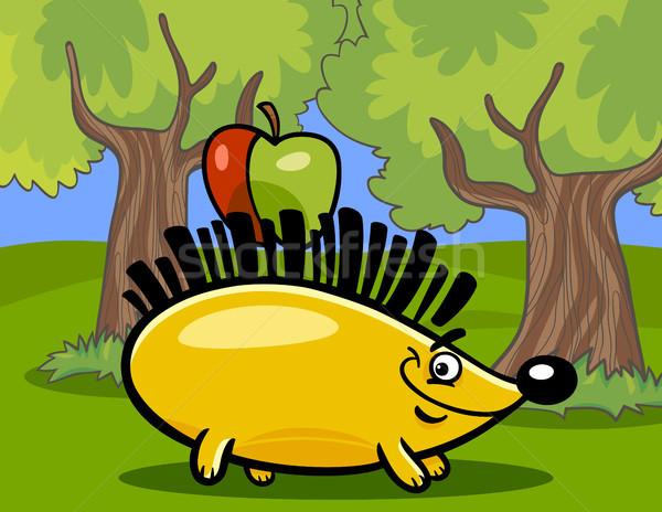 hedgehog with apple cartoon illustration Stock photo © izakowski