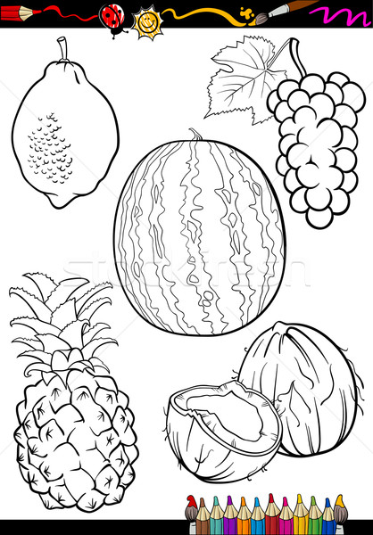 Cartoon Fruits Set For Coloring Book Vector Illustration C Igor