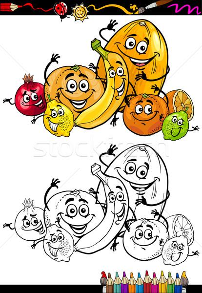 cartoon citrus fruits for coloring book Stock photo © izakowski