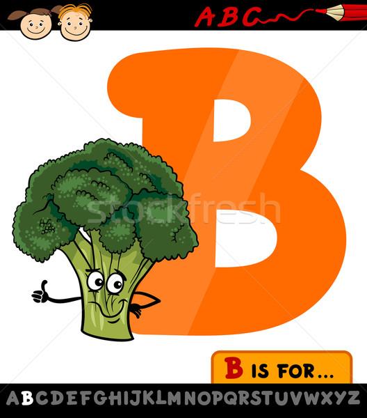 letter b with broccoli cartoon illustration Stock photo © izakowski