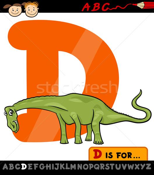 D betű dinoszaurusz rajz illusztráció nagybetű ábécé Stock fotó © izakowski