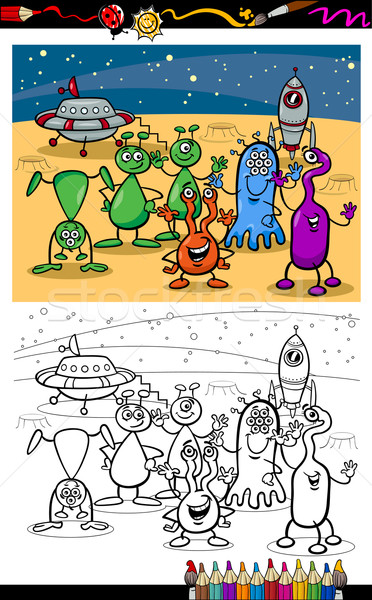 Cartoon UFO группа страница книжка-раскраска Сток-фото © izakowski