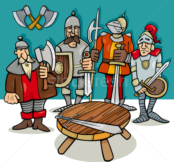 knights of the round table cartoon Stock photo © izakowski