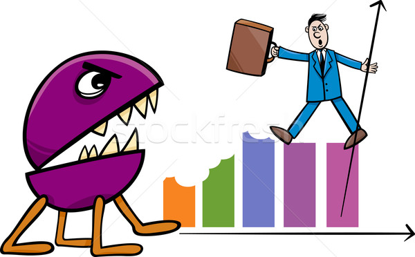 recession in business cartoon illustration Stock photo © izakowski