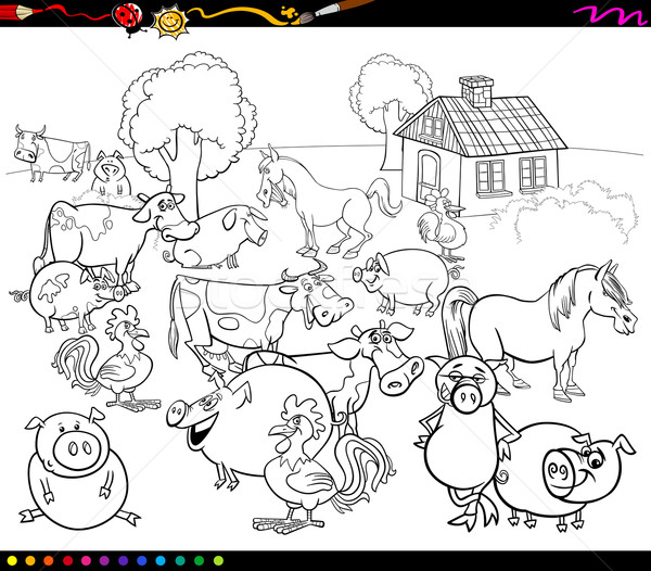 Stock photo: cartoon farm animals for coloring