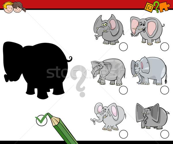 Onderwijs schaduwen activiteit cartoon illustratie schaduw Stockfoto © izakowski