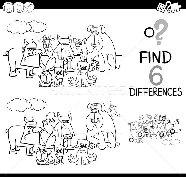 Stock photo: differences game coloring page
