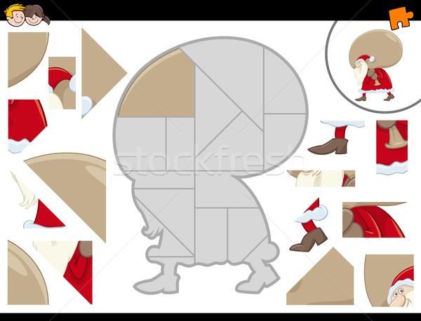 Kirakós játék mikulás rajz illusztráció oktatási tevékenység Stock fotó © izakowski