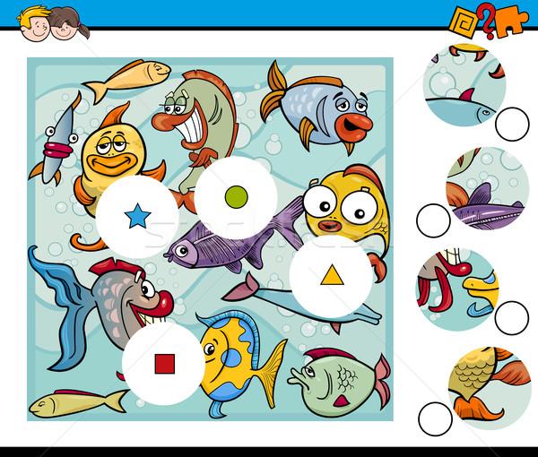 Combinar peças jogo peixe desenho animado ilustração Foto stock © izakowski
