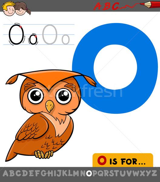 O betű rajz bagoly madár oktatási illusztráció Stock fotó © izakowski