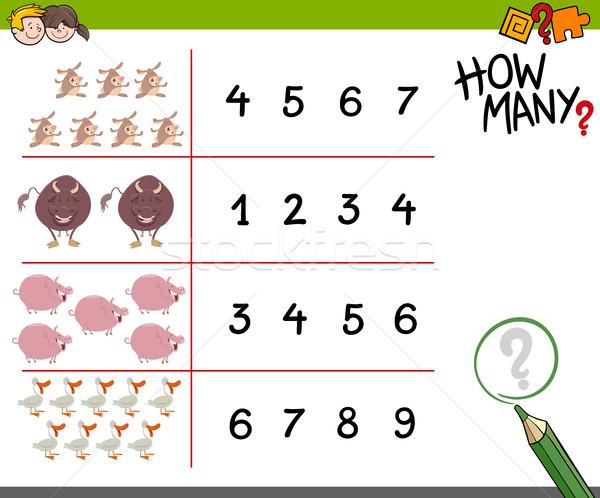 Spel boerderijdieren cartoon illustratie onderwijs kinderen Stockfoto © izakowski