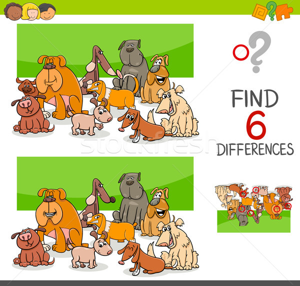 spot the differences with dogs or puppies Stock photo © izakowski