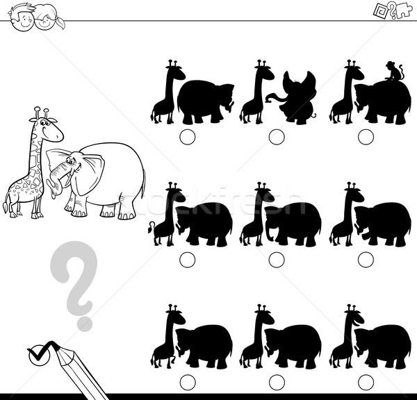 shadow game with animals for coloring Stock photo © izakowski