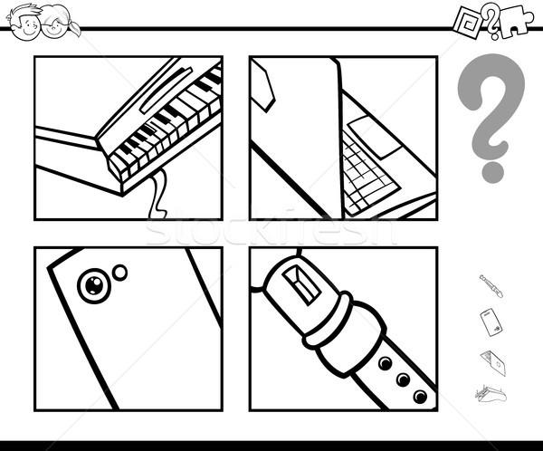 Odgadnąć obiektów gry czarno białe cartoon ilustracja Zdjęcia stock © izakowski